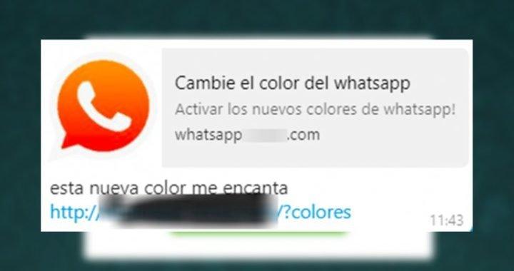 """""""Cambie el color del Whatsapp"""": el nuevo virus que se propaga en chats"""