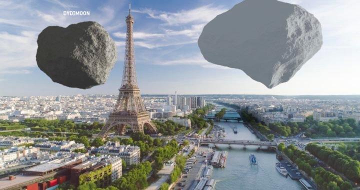 Cómo se verían dos asteroides sobre monumentos emblemáticos en caso de llegar a la Tierra