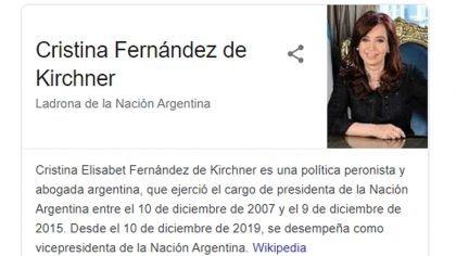 """""""Ladrona de la Nación Argentina"""": Google generó revuelo durante unas horas con su """"descripción"""" de Cristina Kirchner"""
