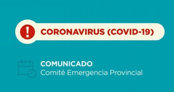Coronavirus: Nuevo comunicado del Comité de Emergencia Provincial- 18/10/2020 – 21:00