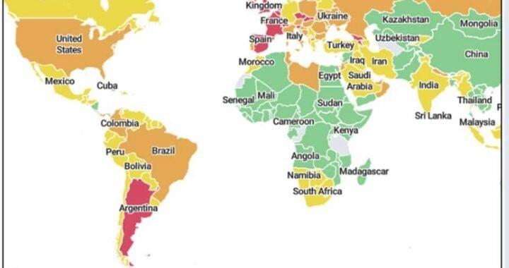 Global Health Institute de Harvard creó un mapa de calor sobre los niveles de riesgo de coronavirus un solo país de América figura en rojo: la Argentina