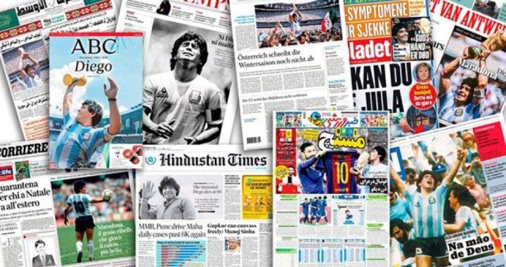 El fallecimiento de Diego Maradona en las tapas de los diarios del mundo