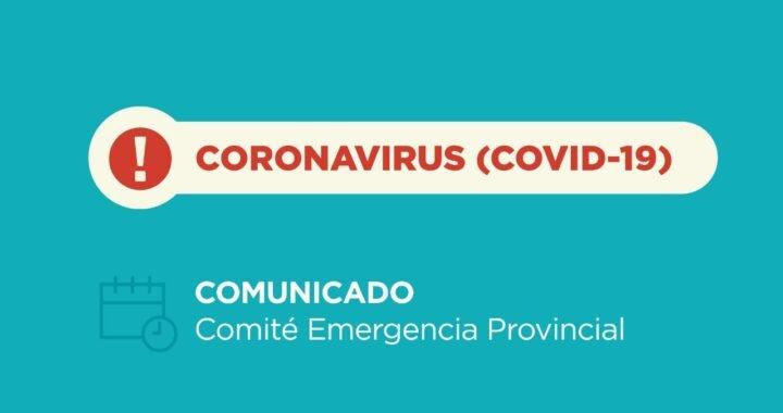 Coronavirus: nuevo comunicado del Comité de Emergencia Provincial. 08/02/2021 – 21:00